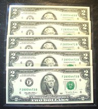1995 - Uncirculated  $2. NOTES - 5 CONSECUTIVE NUMBERS - Atlanta- Mint C... - $24.95