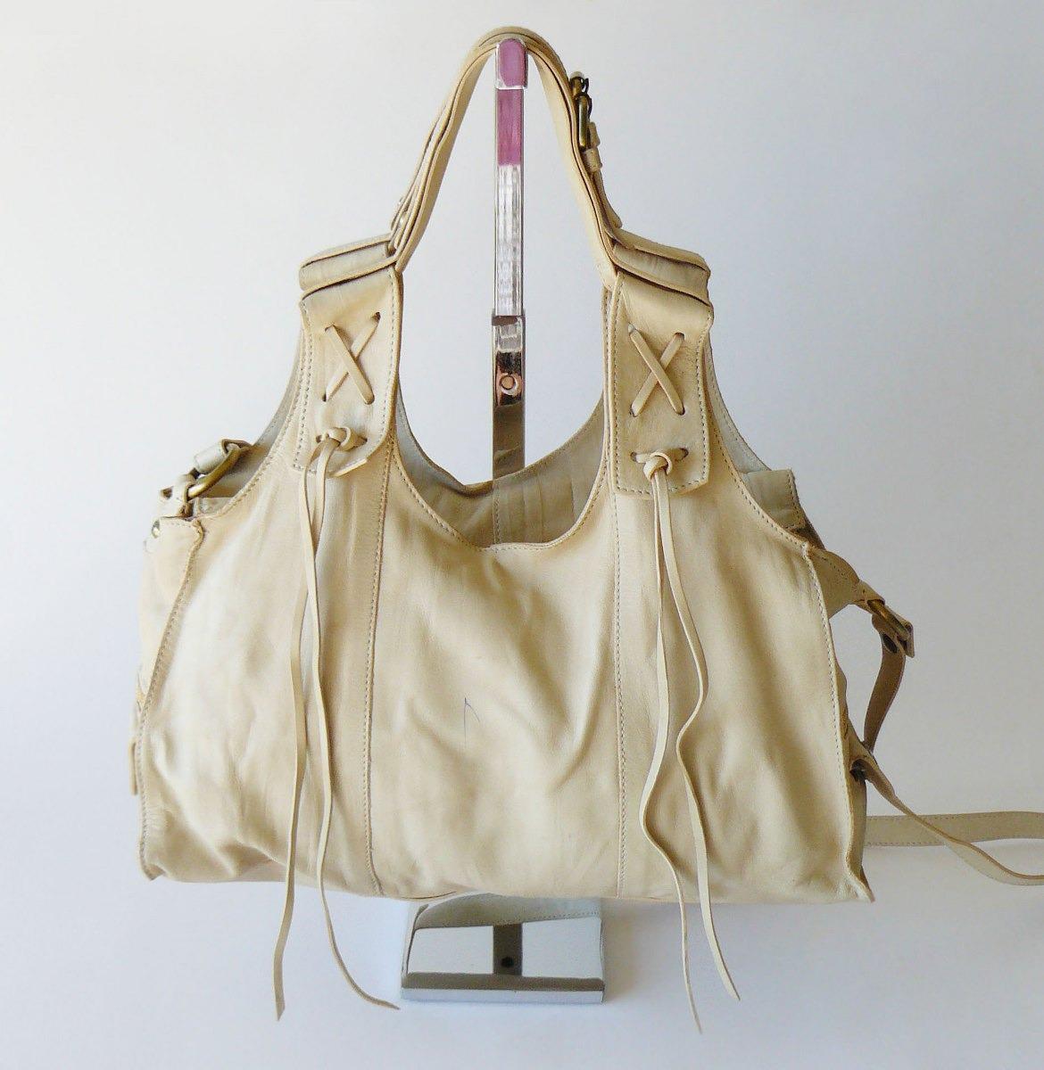 Francesco Biasia Boho Leather Fringe Slouchy Crossbody Shoulder Bag Satchel XL