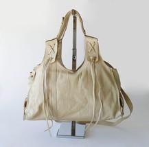 Francesco Biasia Boho Leather Fringe Slouchy Crossbody Shoulder Bag Satchel XL image 2