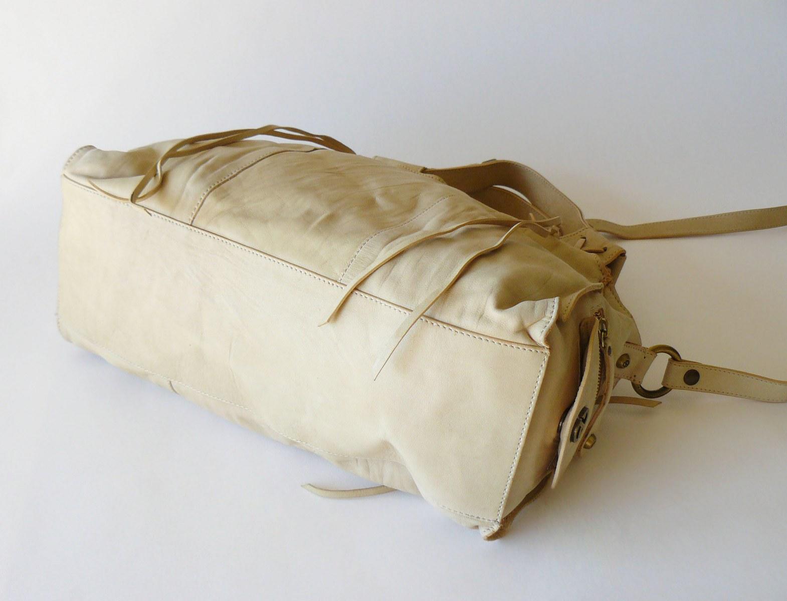 Francesco Biasia Boho Leather Fringe Slouchy Crossbody Shoulder Bag Satchel XL image 4
