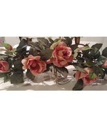Home Interiors 5 Arm Brass Candle Holder & 2 Rose Sparkle Swags Homco - $49.99