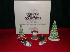 Dept 56 New England Winter Village Accessories set of 5 - MIB - $12.73