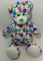 Fiesta Teddy Bear Plush white rainbow multicolor spots polka dots stuffe... - $14.84