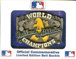 1989 OAKLAND ATHLETICS WORLD CHAMPIONS BELT BUCKLE - $39.99