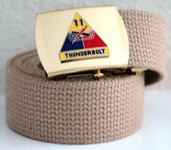 US Army 11th Armored Divison Khaki Belt & Brass Buckle  - $14.99