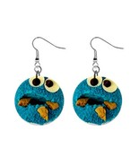 Cookie Monster Button Dangle Earring - $7.00