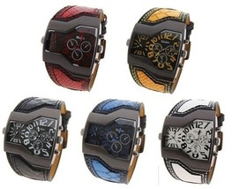 Oulm Double Dual Movt Leather Watch Metal Dial Leather Band Military Men Sports  - $49.98