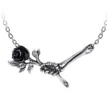 Love Never Dies Skeleton Hand Black Rose Garden Necklace Alchemy Gothic P839 New - $21.95