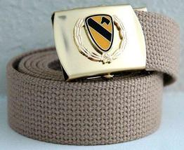 US Army 1st Cal Div Khaki Belt & Brass Buckle  - $14.99