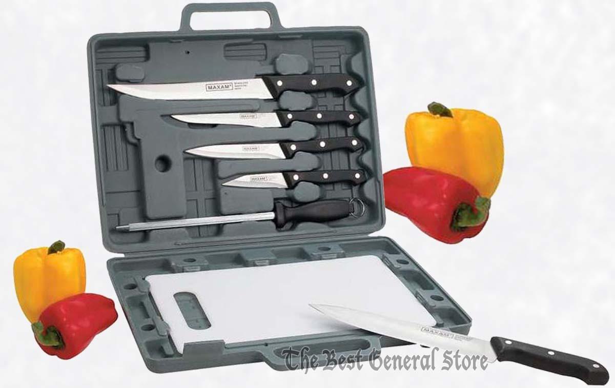 6pc Knife Set W Cutting Board Amp Case Camping Kitchen Rv