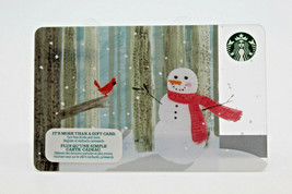 Starbucks Coffee 2015 Gift Card Snowman Winter Red Bird Holiday Zero Bal... - $11.27