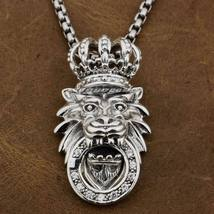 LINSION 925 Sterling Silver White CZ Stone King Lion Crown Pendant for M... - $142.50+