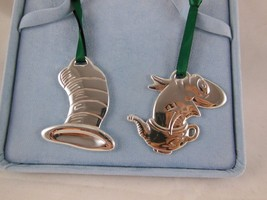 Dr. Seuss The Cat in a Hat  & Fish in a Dish Silver Metal Christmas Orna... - $14.80