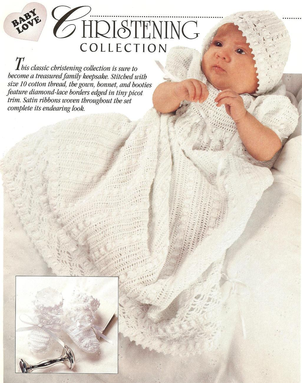 Christening Gownbonnet Booties Crochet And 50 Similar Items