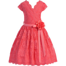 Coral Cap Sleeve V Neck Floral Lace with Corsage Flower Belt Girl Dress - $29.99+