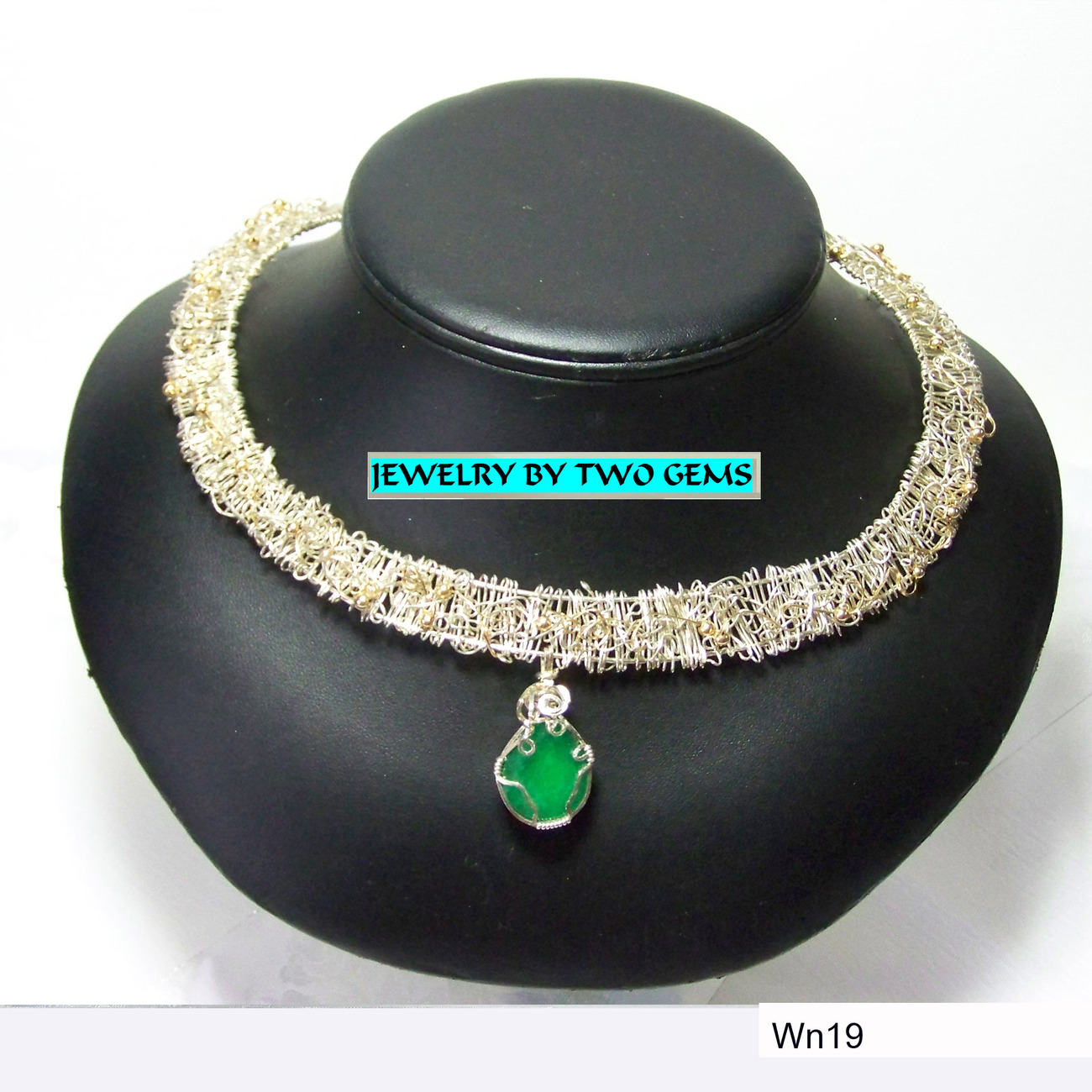 Jewery By Two Gems (Wn19) Sterling Silver/14k Gold Filled Collar w  Aventurine