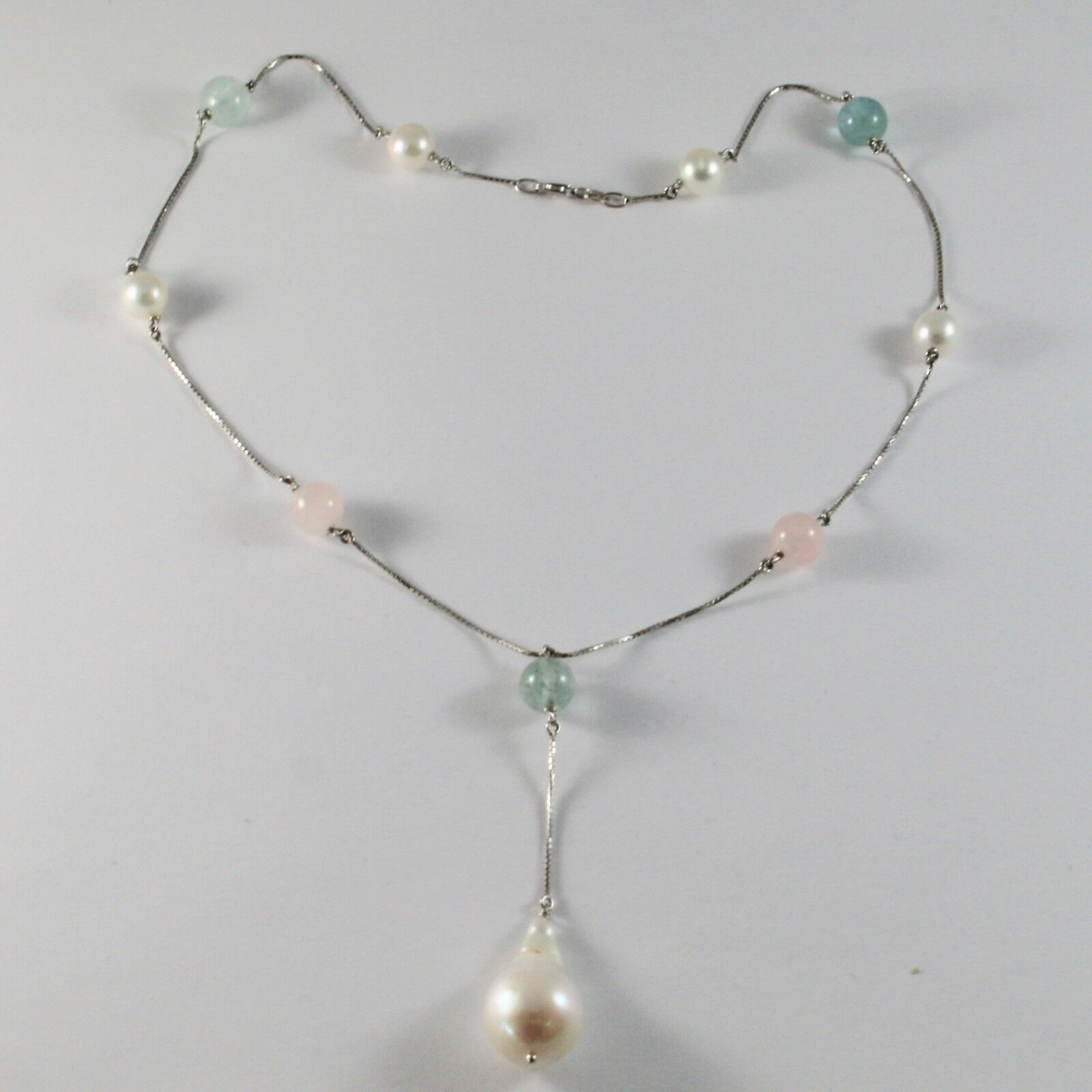 Necklace in 18kt White Gold with Aquamarine Pearls Akoya Pearl Baroque Drop