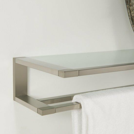 Towel Rack Double With Glass Shelf Tiger Items Brushed Stainless Steel