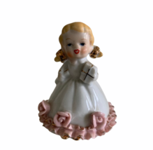 "Vintage Porcelain Girl Bell With Flowers Made In Japan Approx. 3.25""  - $18.52"
