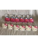 Hello Kitty Shower Curtain Hooks Set of 12  Used Kitty & Purse Design Pi... - $14.99