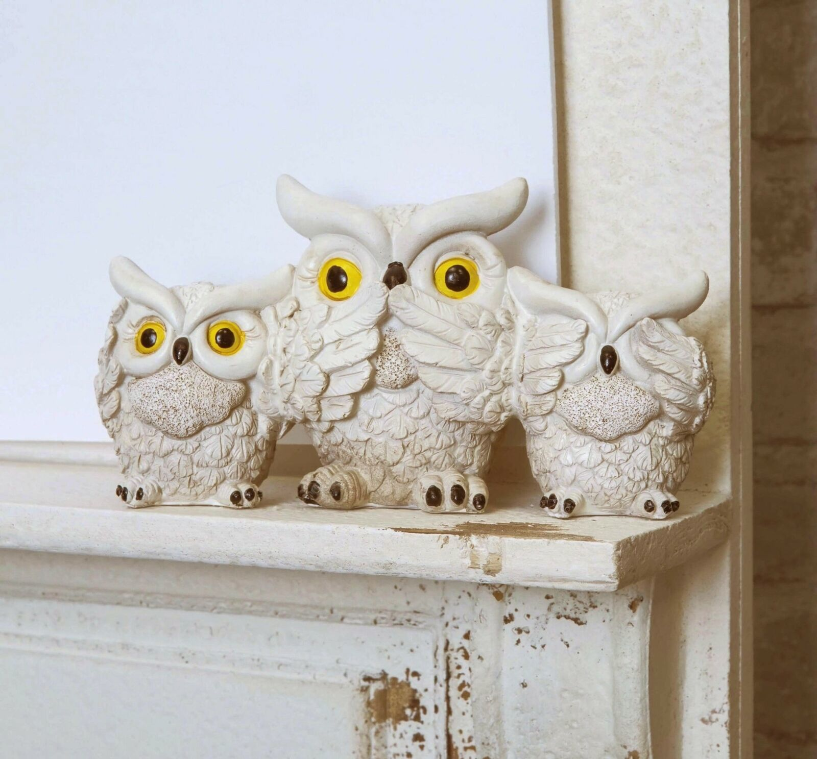 Primary image for Cream Colored See Hear Speak No Evil Wise Fat Owls Figurine Owl Family Decor