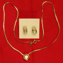 Aurora Borealis Serpentine Necklace & Clip Earrings Austrian Crystal ✿ 8... - $29.65