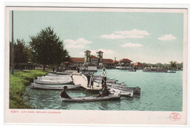 Canoe Boating City Park Denver Colorado 1907c postcard - $7.43