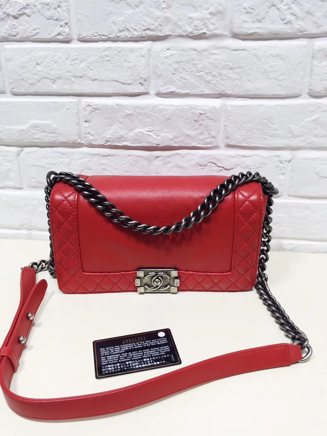 006178b7dfe9 AUTHENTIC CHANEL RED SMOOTH CALFSKIN REVERSO MEDIUM BOY FLAP BAG RHW ...