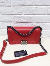 AUTHENTIC CHANEL RED SMOOTH CALFSKIN REVERSO MEDIUM BOY FLAP BAG RHW