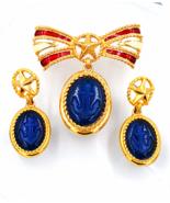 Trifari Brooch and Earring Set TM  Anchors Away  Nautical Patriotic Sail... - $149.00