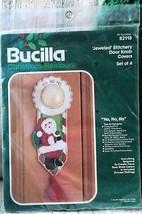 Ho Ho Ho Bucilla JEWELED Stitchery Door Knob Covers KIT Santa Claus NOS ... - $22.76