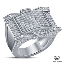 Men's Band Engagement Ring In 10k White Gold Plated Pure 925 Silver Sim ... - $121.99