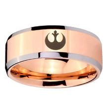 10mm Star Wars Rebel Alliance Beveled Edges Rose Gold Tungsten Bands Ring - $44.99