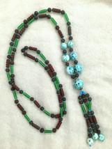 Vintage Art Deco Japan Czech Art Glass Flapper Bead Necklace Tube Bumpy ... - $157.50