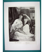 NUDE Eastern Beauty Shulamite - Antique Photogravure Print - $14.85