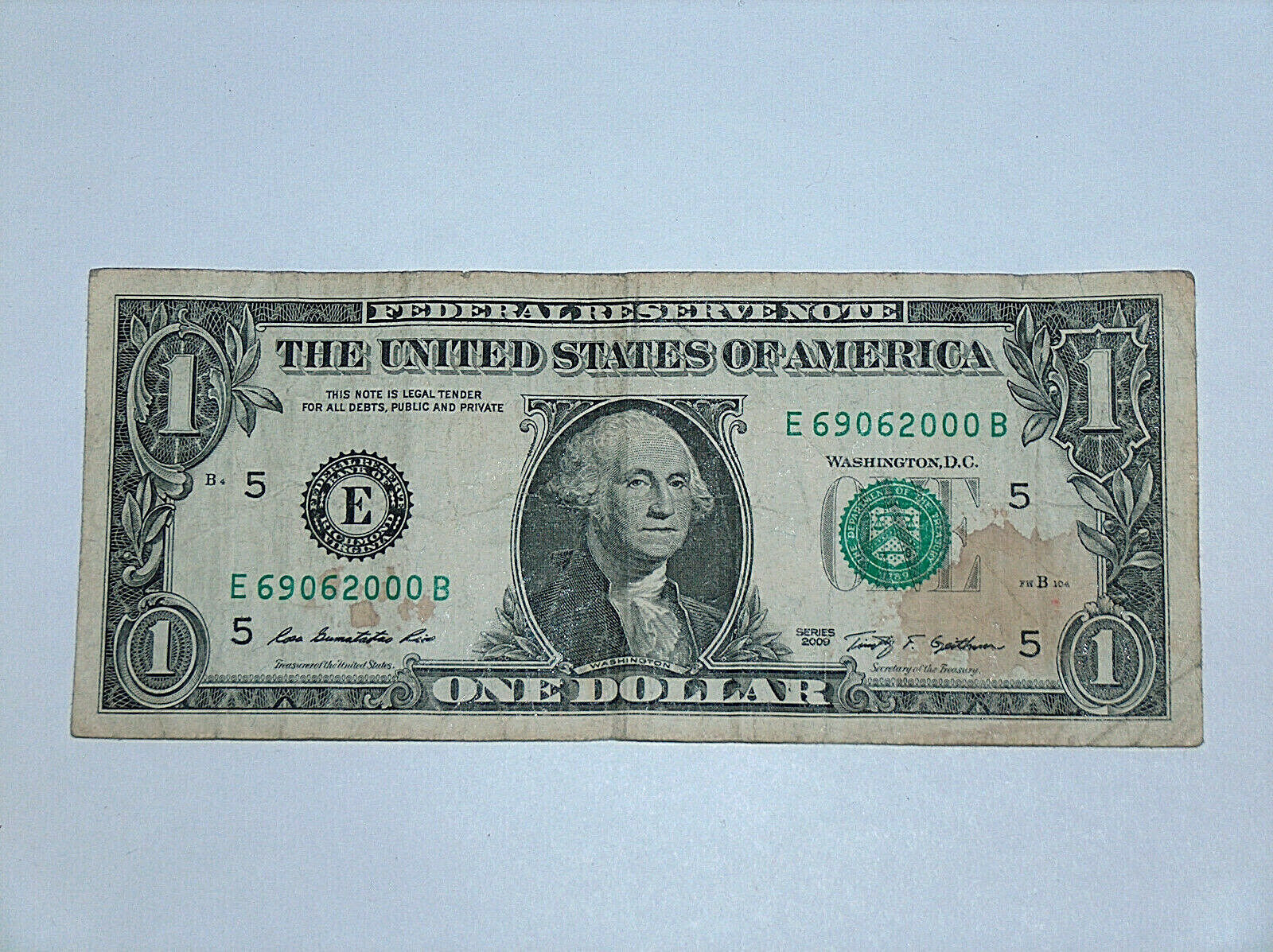 2009 $1 Bill US Bank Note Rhône-Alpes France Postal Code 69062 000 Fancy Serial#