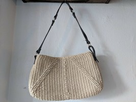 Vintage Liz Claiborne 80's/90's Rope Woven Jute Handbag purse, leather strap - $15.77