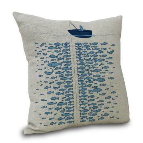 "Nautical Fisherman Throw Pillow Cover Coastal  Pillow Case 18"" By 18"""