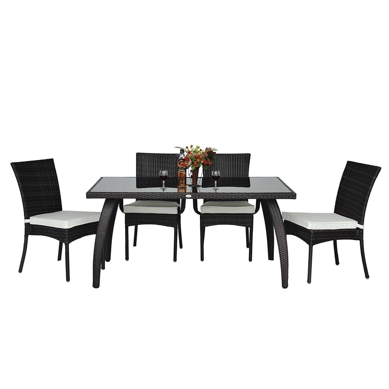 Rattan Garden Dining Set 7pcs Luxury Patio Furniture Rectangular Table 6 Chairs image 8