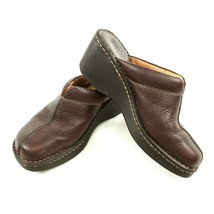 Born Brown Leather Contrast Stitching Mules Clogs Slip On Shoes Womens 7 M - $29.54