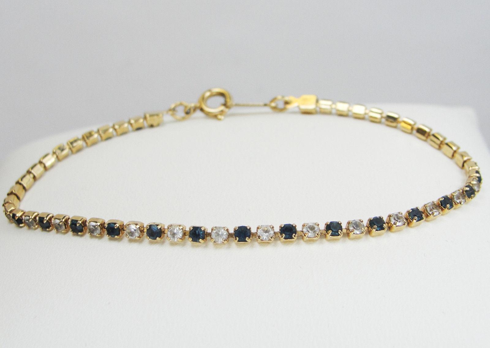 Vintage AVON Gold Tone Rhinestone Bracelet * The Look of Diamonds & Sapphires *