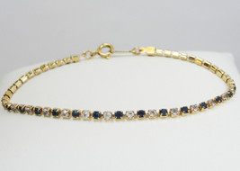 Vintage AVON Gold Tone Rhinestone Bracelet * The Look of Diamonds & Sapp... - $18.99