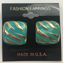 Vintage Enamel Tiger Zebra Striped Earrings Pierced Small Gold Tone Safa... - $7.87