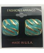 Vintage Enamel Tiger Zebra Striped Earrings Pierced Small Gold Tone Safa... - $7.87