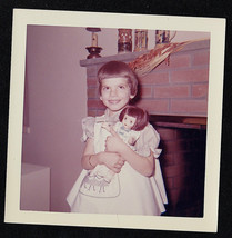 Vintage Photograph Adorable Little Girl Standing By Fireplace With Cute ... - $5.94