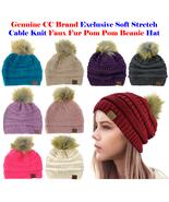New! CC Brand Exclusive Soft Stretch Cable Knit Faux Fur Pom Pom CC Bean... - $12.46+