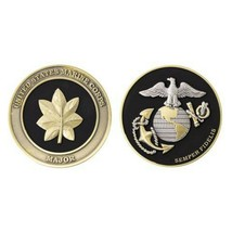 "USMC MARINE CORPS MAJOR BLACK GOLD SILVER EGA 1.75""  CHALLENGE COIN - $16.24"