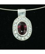 Raspberry Rhodolite Garnet Cubic Zirconia Halo Silver Ladies Pendant Des... - $80.75