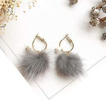 Hairy Earrings with Love Ornaments Simple Style for Daily Occasion - Grey - $13.75