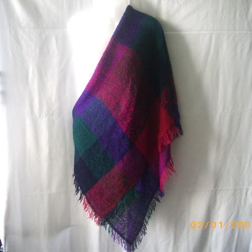 Acrylic wrap shawl in deep pink, purple, green and black